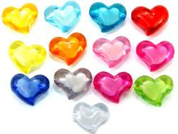 Koraliki serca 35x28mm mix kolorów