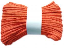 Sznurek bawełniany pełny 5mm pomarańczowy 50m