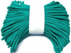 Sznurek bawełniany pełny 5mm zielony lazurowy 50m