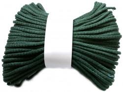 Sznurek bawełniany pełny 5mm zielony butelkowy 50m