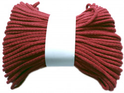 Sznurek bawełniany pełny 5mm bordowy 50m