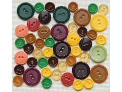 Guziki plastikowe - brązowe, zielone, żółte