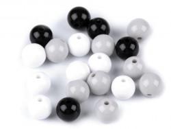 Koraliki kulki 9mm czarne szare białe 20szt. błyszczące