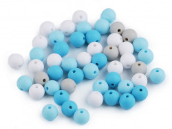 Koraliki kulki 7,5mm niebieskie szare białe 50szt. matowe