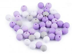 Koraliki kulki 7,5mm fioletowe szare białe 50szt. matowe