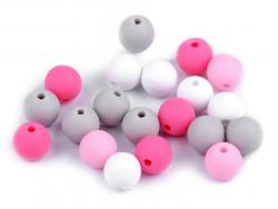 Koraliki kulki 9mm różowe szare białe 20szt. matowe