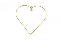 Obręcz metalowa serce 35cm złota