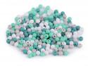 Koraliki kulki 3mm zielone szare białe ok. 700szt. matowe
