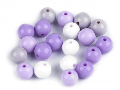Koraliki kulki 9mm fioletowe szare białe 20szt. błyszczące