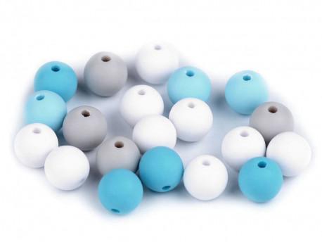 Koraliki kulki 9mm niebieskie szare białe 20szt.matowe