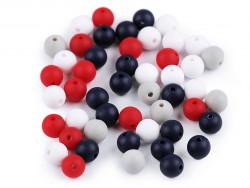 Koraliki kulki 7,5mm granatowe czerwone szare białe 50szt. matowe