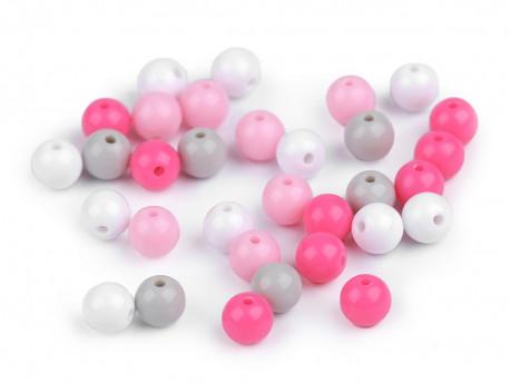 Koraliki kulki 7,5mm różowe szare białe 50szt. błyszczące