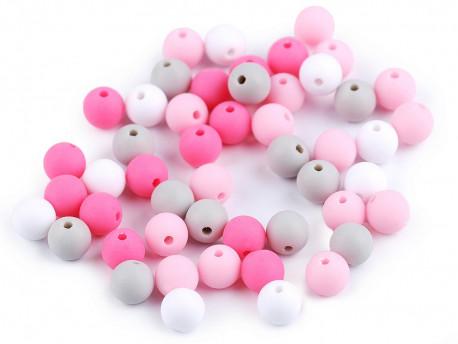 Koraliki kulki 7,5mm różowe szare białe 50szt. matowe