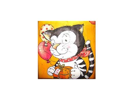 Serwetki Decoupage - Urodzinowy Kot