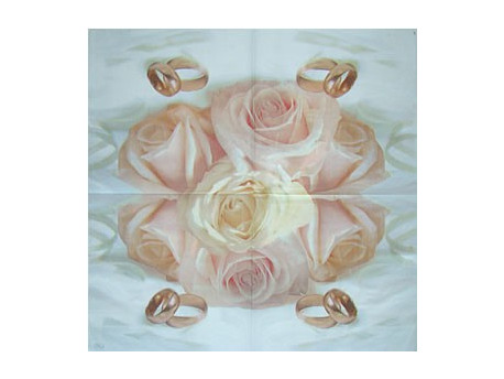 Serwetki Decoupage - Obrączki w różach